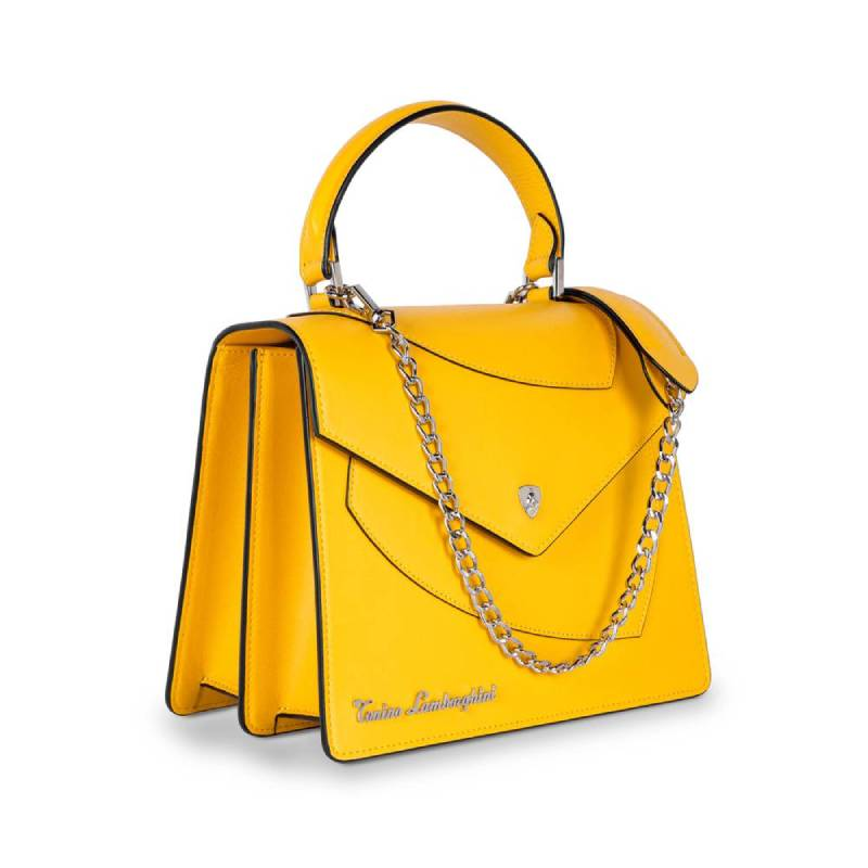 Lamborghini Δερμάτινη Γυναικεία Τσάντα Χειρός Shield Lady Yellow