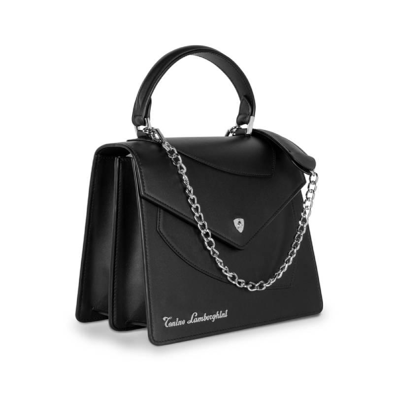 Lamborghini Δερμάτινη Γυναικεία Τσάντα Χειρός Shield Lady Black