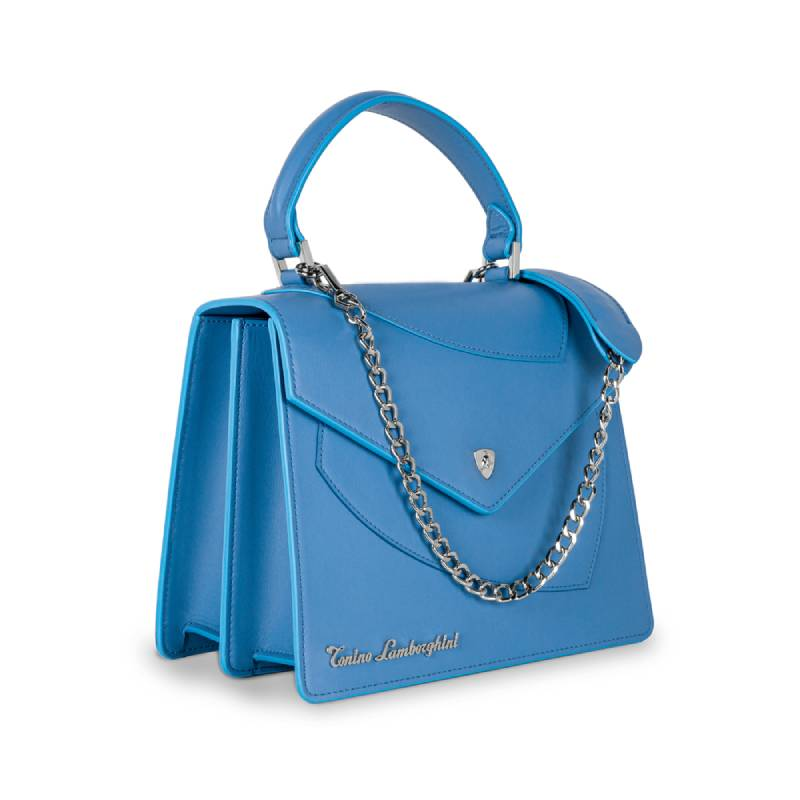 Lamborghini Δερμάτινη Γυναικεία Τσάντα Χειρός Shield Lady Blue