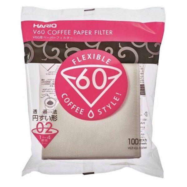 Χάρτινα Φίλτρα Καφέ Φίλτρου Hario V60 Dripper Μέγεθος 01 (100τμχ)